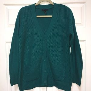 Forever 21 Dark Teal Cardigan Sweater